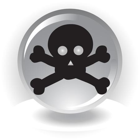 black danger scull  icon on sphere background