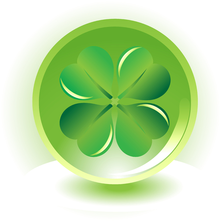 four leaf clover ,shramrock on sphere background Vector