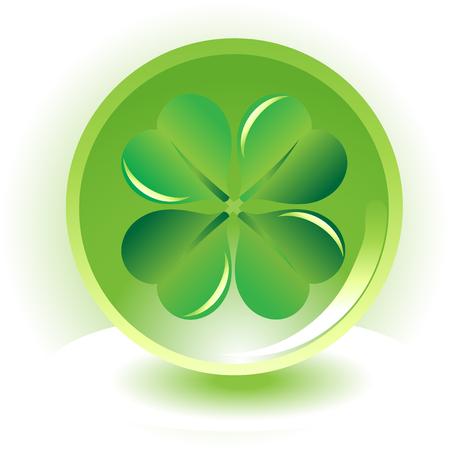 four leaf: tr�bol de cuatro hojas, en la esfera de fondo shramrock