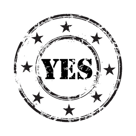 yes abstract grunge rubber stamp background Vector