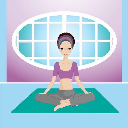 happy healthy woman: yoga girl