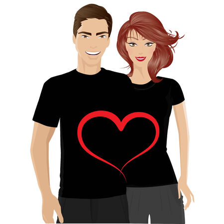 trendy male: smiling young couple with valentines day t-shirt