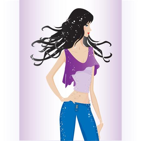 glam: modelo de moda sexy Vectores