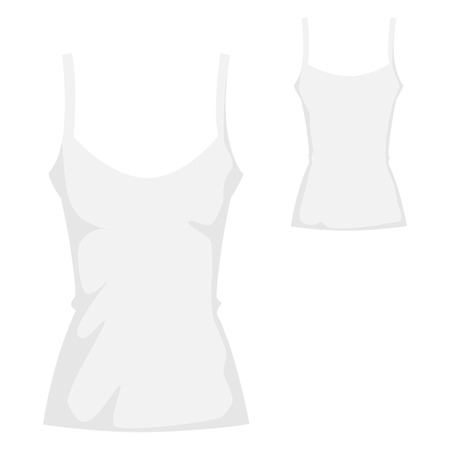white blank tank T-shirt template for womenswear Vector