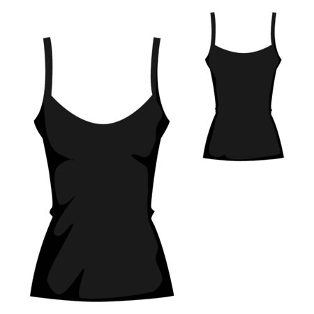 black blank tank T-shirt template for womenswear
