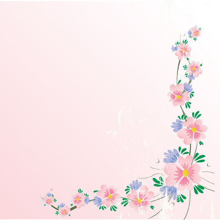 floral cherry blossom corner background with grunge effect Illustration