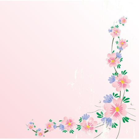 stationery border: floral cherry blossom corner background with grunge effect Illustration