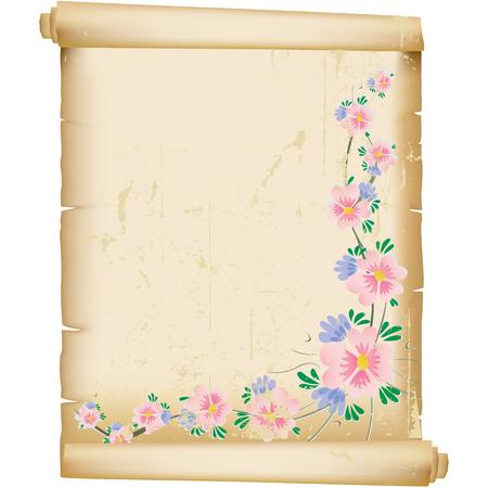 grunge floral background on vintage manuscript paper Vector