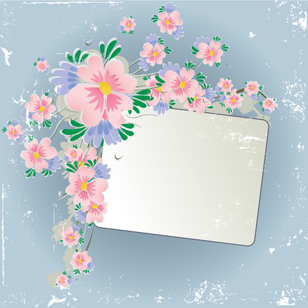 grunge floral background with frame Vector