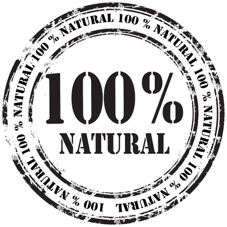 %100 natural grunge rubber stamp background Illustration