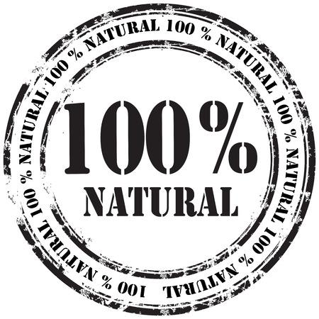 estampa: 100% naturales grunge sello fondo Vectores