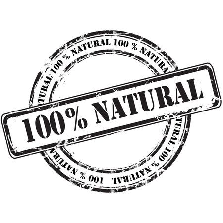 %100 natural grunge rubber stamp background Illustration