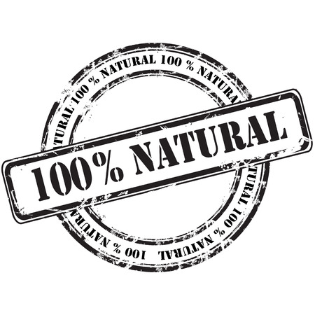 %100 natural grunge rubber stamp background Vector