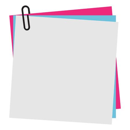 Post-it en blanco nota de papel con clip
