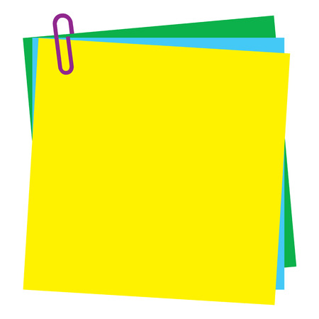 yellow note: Blank Post-it note paper with paperclip