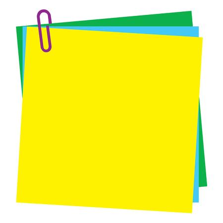 sticky notes: Lege post-it notitie papier met de paperclip Stock Illustratie