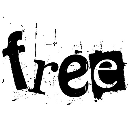the word free written in grunge cutout style
