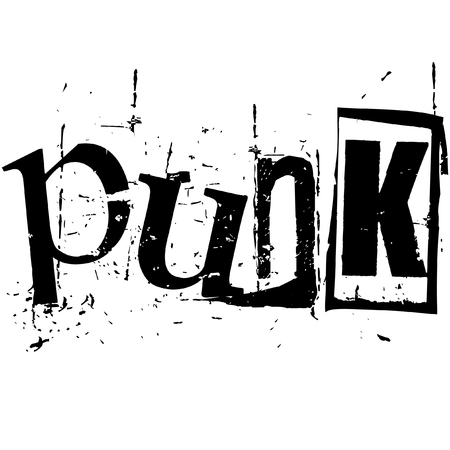 the word punk written in grunge cutout style Illustration