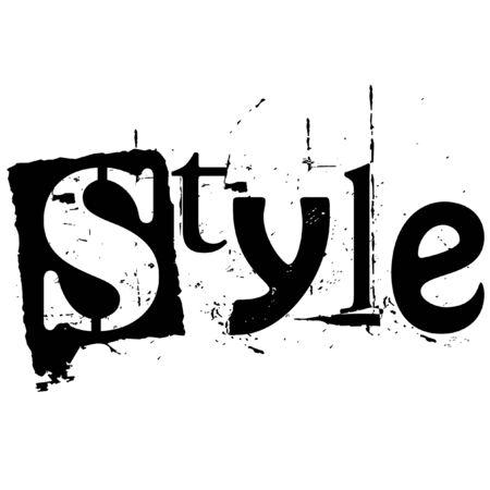 het woord stijl geschreven in grunge cutout stijl
