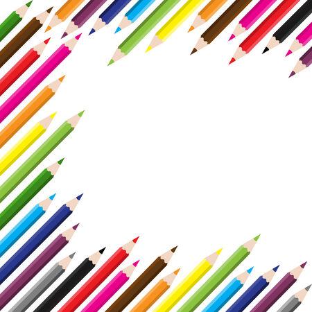 back to school color pencils background Illustration