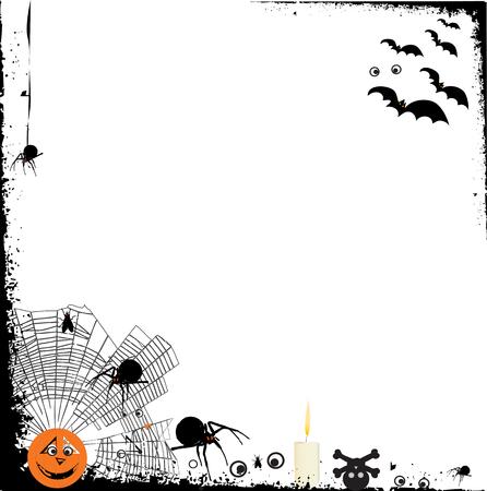 halloween grunge background with design elements Illustration