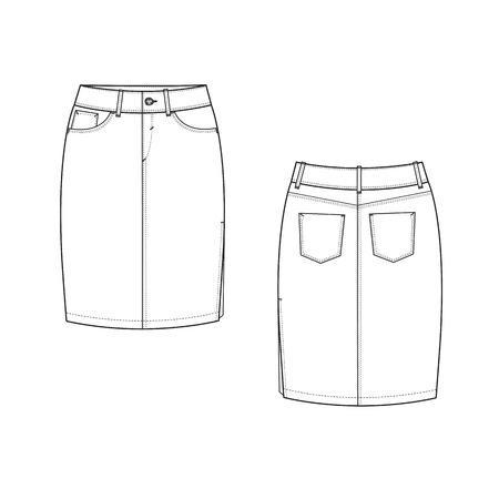 denim skirt: a vector illustration of Pencil Skirt
