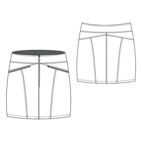 denim skirt: A Vector illustration of Sexy Zipped Mini Skirt Illustration