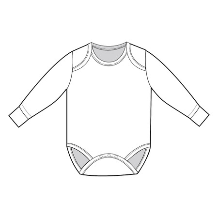 A Vector Illustration of Long Sleeve Infant Bodysuit Vector