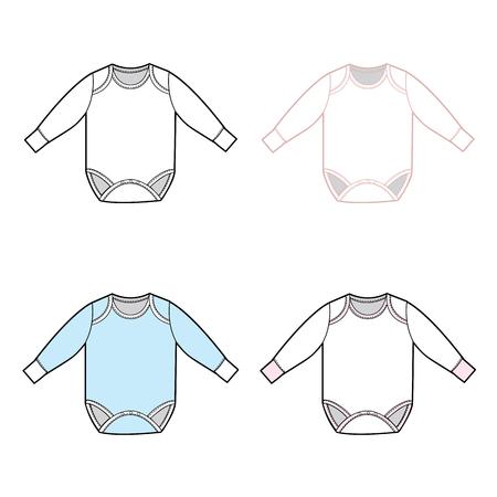 Ein Vektor-Illustration Langarmshirt Baby-Strampler-Set