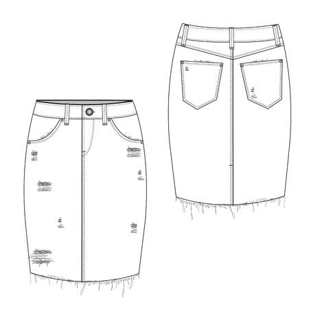 jeans skirt: A vector illustration of Ripped Midi Jean Skirt Illustration