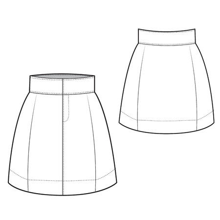 tailored: A Vector Illustration of Chic Skirt