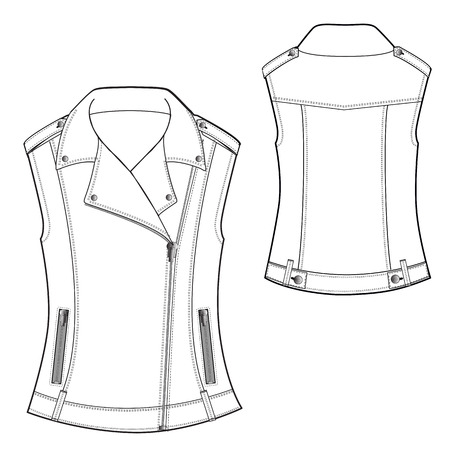 A Vector Illustration of Biker Waistcoat 向量圖像