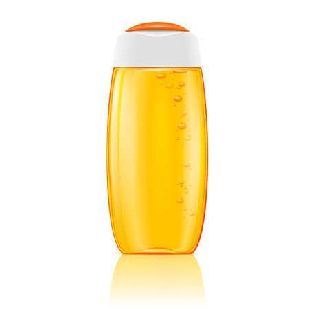 champú: Botella cosmética de plástico con burbujas en amarillo champú, gel de ducha, loción o gel de baño. Listo para su diseño. Ilustración del vector.