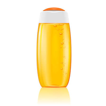 shower gel: Plastic cosmetic bottle with bubbles in yellow shampoo, shower gel, lotion or bath foam. Ready for your design. Vector illustration.