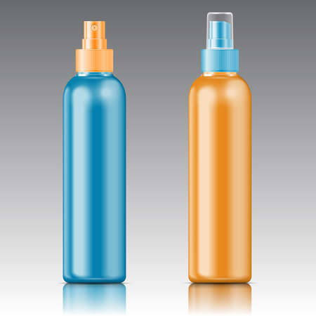 Color plastic bottle (cosmo round style) with fine mist ribbed sprayer for cosmetic, perfume, deodorant, freshener. Vector illustration.