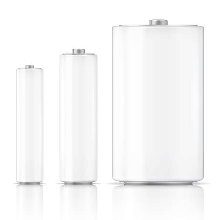 White battery template set, three sizes: AAA, AA, D. Ready for your design. Vector illustration. Vector