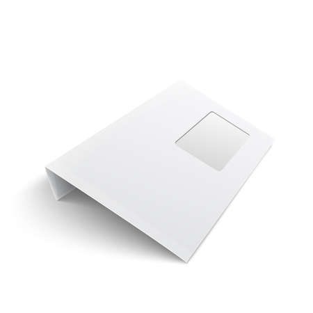 White stationery: blank opened envelope E65 size with window, on white background with soft shadows. Vector illustration.