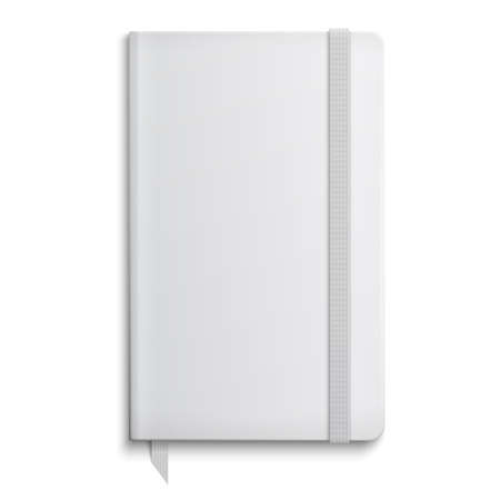 elastic band: Blank copybook template with elastic band and bookmark. Vector illustration.