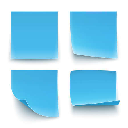 Four blue paper stickers, twisted on different degree. Vector illustration Vector