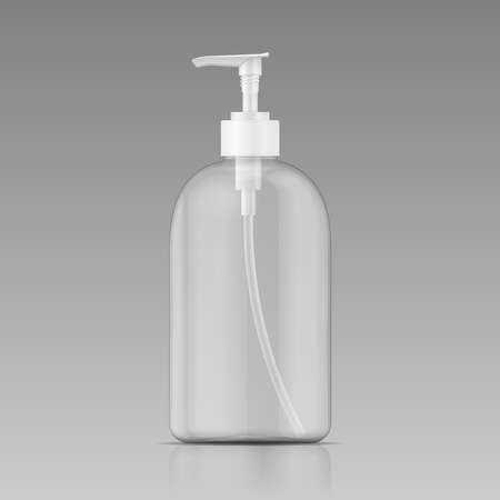cosmetics products: Clean plastic bottle template with dispenser for liquid soap, shampoo, shower gel, lotion, body milk. Vector illustration.
