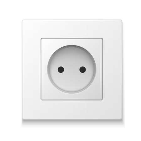 alternating current: White socket outlet. Vector illustration