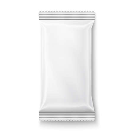 food packaging: White wet wipes package isolated on white background. Ready for your design. Packaging collection. Illustration