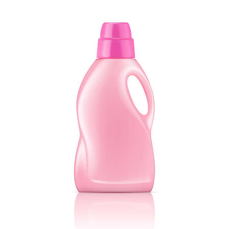Pink plastic bottle for liquid laundry detergent, cleaning agent, bleach or fabric softener. Packaging collection. Vector illustration.