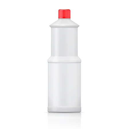 bleach: White plastic bottle for bleach, cleaning agent or washing cleaner. Packaging collection. Vector illustration.