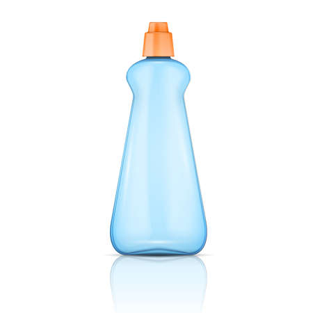 Blue plastic bottle with orange cap for dishwasher rinse or washing-up liquid. Packaging collection. Vector illustration. Illustration