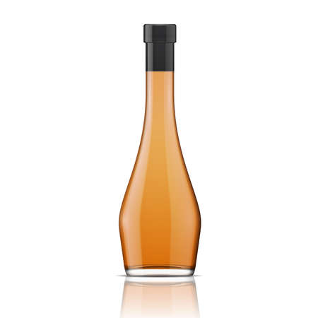 intoxicant: Glass brandy (bourbon, whiskey, cognac) bottle, isolated on white background. Vector illustration. Glass bottle collection, item 1. Illustration