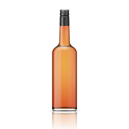 Glass brandy (bourbon, whiskey, cognac) bottle with screw cap. Vector illustration. Glass bottle collection, item 2. Vector