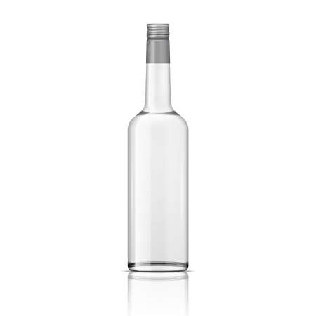 Glass vodka bottle with screw cap. Vector illustration. Glass bottle collection, item 5.