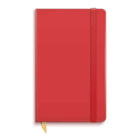 Red copybook with elastic band and gold bookmark. Vector illustration.