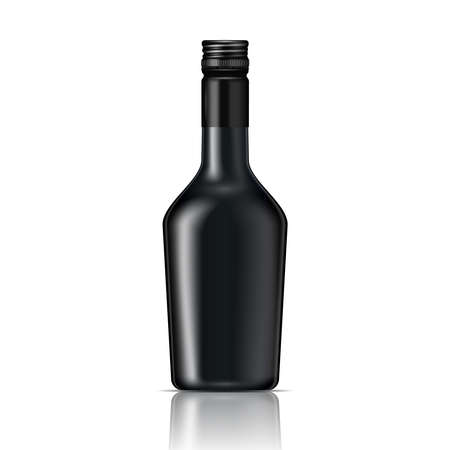 bottle cap: Black glass liqueur bottle with screw cap.. Vector illustration. Glass bottle collection, item 6. Illustration